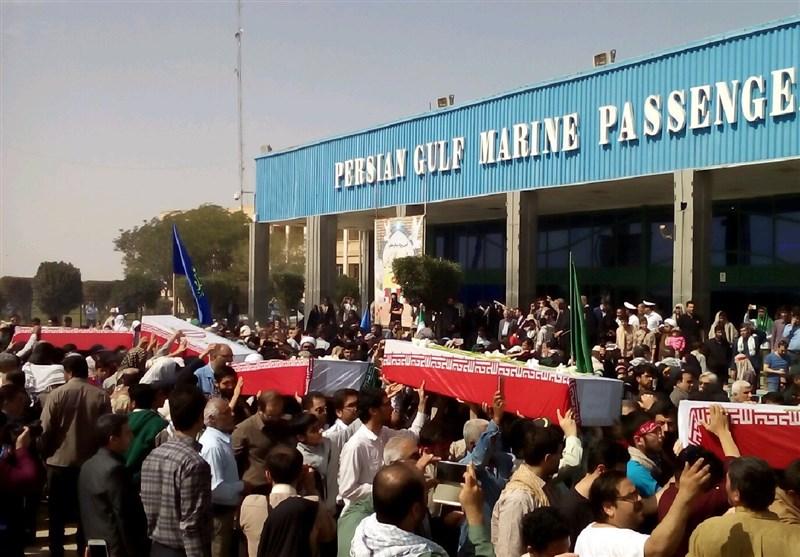 پیکر ۱۱۵ شهید تازهتفحصشده از راه دریایی اروند وارد خاک ایران شد