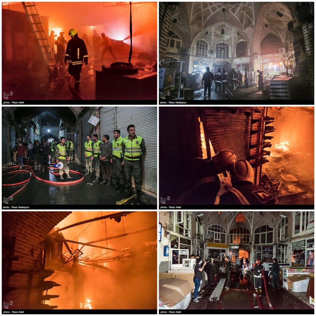 شب سخت و دلهرهآور تبریز؛ آتش بزرگ بازار تبریز در کمتر از ۴ ساعت اطفاء شد