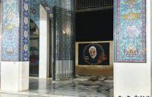 تصویر حاج قاسم بر دیوار حرم مطهر حضرت زینب(س) نقش بست + عکس