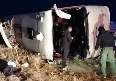 واژگونی اتوبوس در محور تبریز ـ صوفیان / ۲۲ مسافر مصدوم شدند